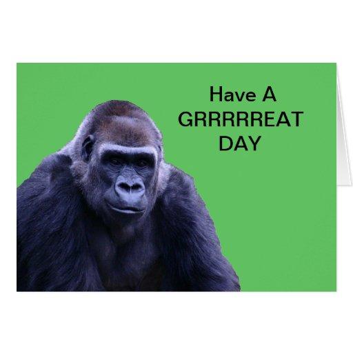 productos chistosos del gorila tarjeta de felicitación
