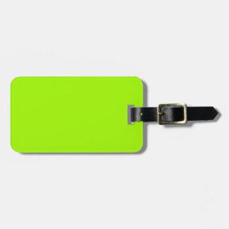 Productos de encargo verdes de neón del color sola etiquetas de maletas