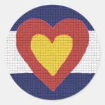 ¡Productos de la bandera de Colorado del corazón Etiquetas Redondas