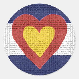 ¡Productos de la bandera de Colorado del corazón Pegatina Redonda