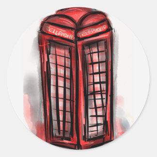 Productos de la cabina de teléfono pegatina redonda