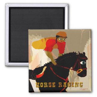 productos de la carrera de caballos imán cuadrado
