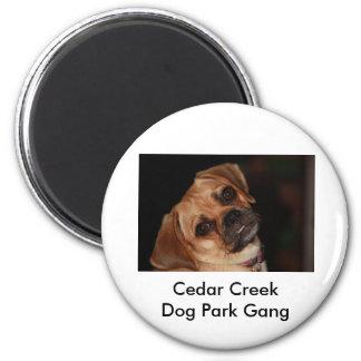 Productos de la cuadrilla del parque del perro de  imán redondo 5 cm