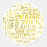 Productos de la nube de la palabra del water polo etiqueta redonda