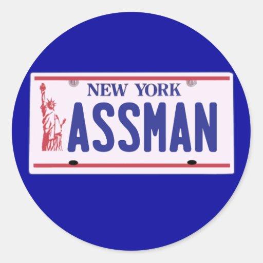 Productos de la placa de Assman Nueva York Pegatina Redonda