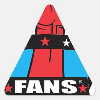 PRODUCTOS de la UNIÓN de las FANS (logotipo 1) Pegatina Triangular