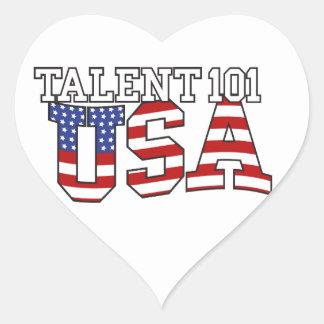 Productos de los E.E.U.U. del talento 101 Pegatina En Forma De Corazón