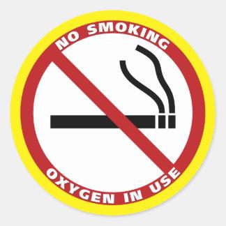 Productos de no fumadores pegatina redonda
