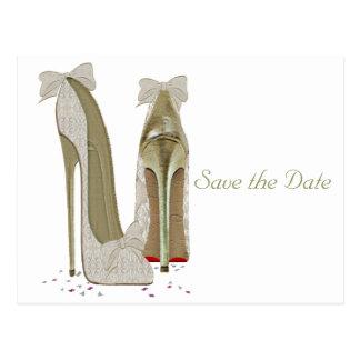 Productos de papel de los tacones altos del boda tarjeta postal