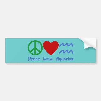 Productos del acuario del amor de la paz etiqueta de parachoque