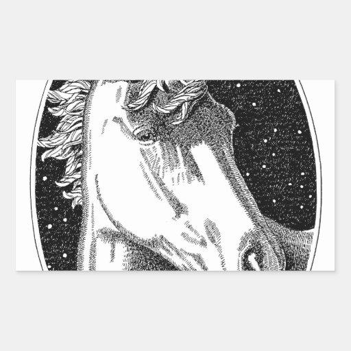 Productos del B-W del unicornio Pegatina Rectangular