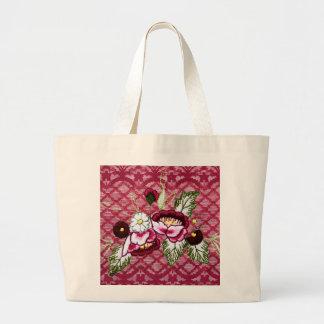 Productos del cordón rojo y del diseño floral bolsa de mano