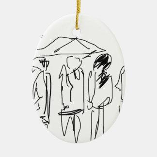 Productos del día lluvioso adorno ovalado de cerámica