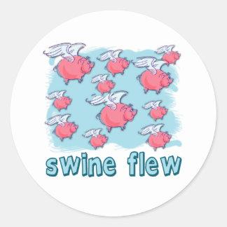 Productos del humor de la gripe de los cerdos pegatina redonda