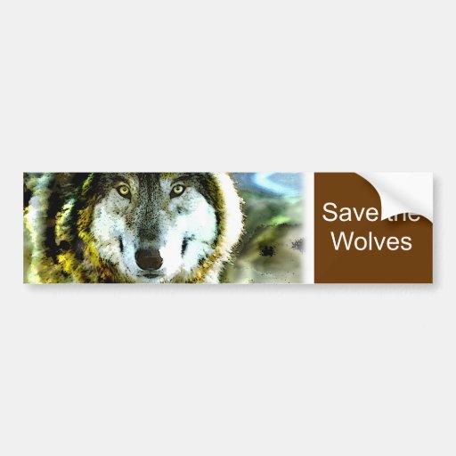 Productos del lobo de madera de JungleWalk.com Pegatina Para Auto