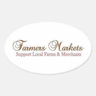Productos del mercado de los granjeros pegatinas óvales