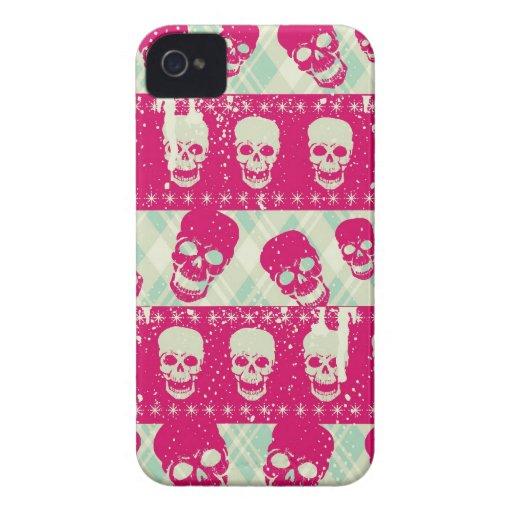 Productos del modelo del cráneo del rosa y de la v Case-Mate iPhone 4 funda