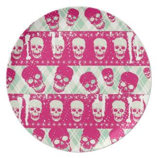 Productos del modelo del cráneo del rosa y de la v plato de comida