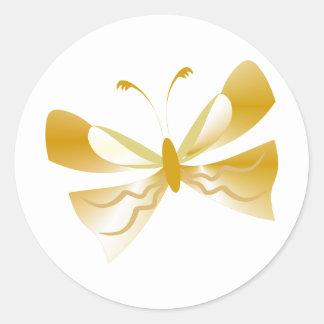 Productos del personalizado de la mariposa del oro pegatina redonda