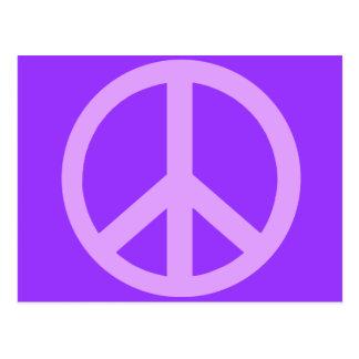 Productos del signo de la paz de la lila postales