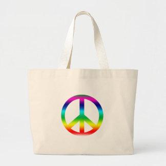 Productos del signo de la paz del arco iris bolsa tela grande