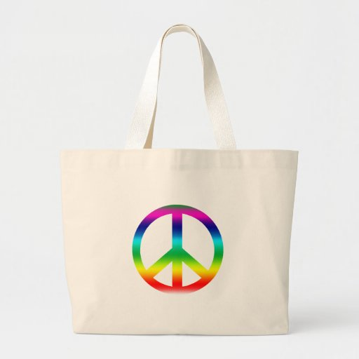 Productos del signo de la paz del arco iris bolsa lienzo