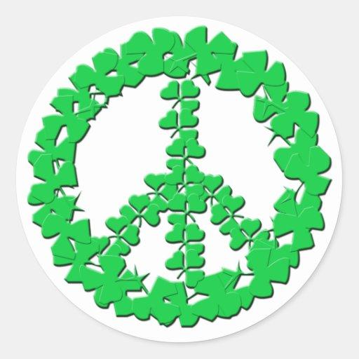 Productos del signo de la paz del trébol pegatina redonda