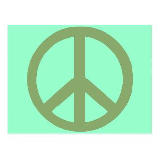 Productos del signo de la paz del verde caqui postal