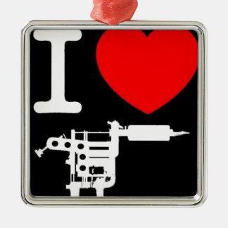 productos del tatuaje del corazón i adorno navideño cuadrado de metal