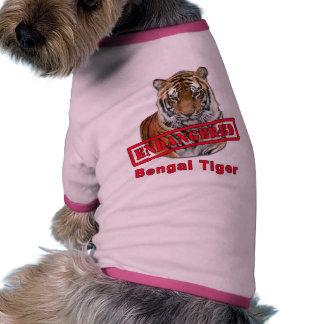 Productos en peligro del tigre de Bengala Camisa De Mascota
