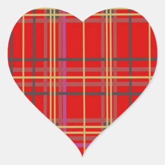 Productos escoceses de la tela escocesa o del pegatina en forma de corazón