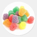¡Productos frescos de los caramelos! Etiqueta Redonda