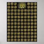Productos islámicos 99 nombres de Alá y del Poster