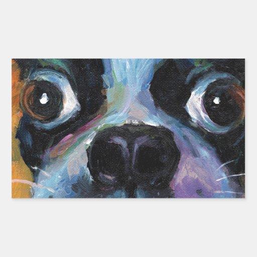 Productos lindos del retrato del perro de perrito pegatina rectangular