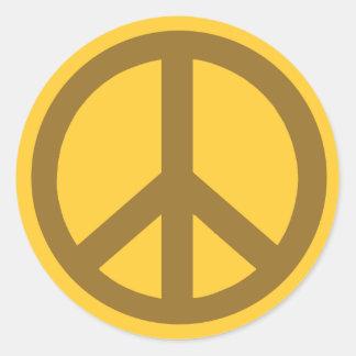Productos marrones del símbolo de paz pegatina redonda