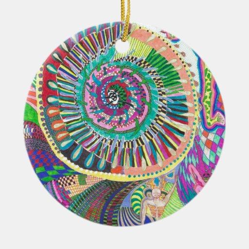 Productos mentales del diseño de la polarización adorno navideño redondo de cerámica