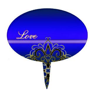 Productos multi del damasco azul del amor de decoraciones para tartas