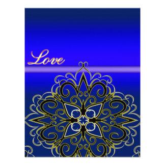 Productos multi del damasco azul del amor de membrete