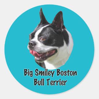 Productos multi sonrientes grandes de Boston bull Pegatina Redonda