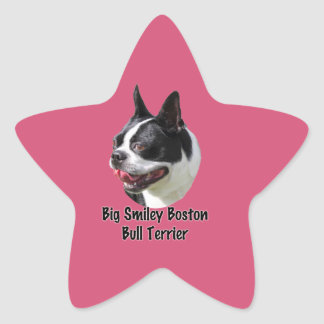 Productos multi sonrientes grandes de Boston bull Pegatina En Forma De Estrella