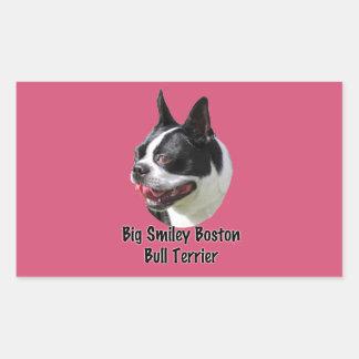Productos multi sonrientes grandes de Boston bull Pegatina Rectangular