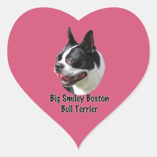 Productos multi sonrientes grandes de Boston bull Pegatina En Forma De Corazón