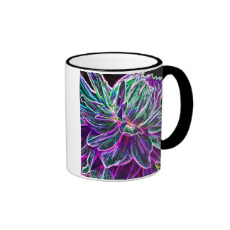 Productos multicolores de la dalia del borde que b taza de café