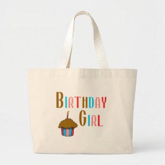 Productos multicolores del chica del cumpleaños bolsa tela grande