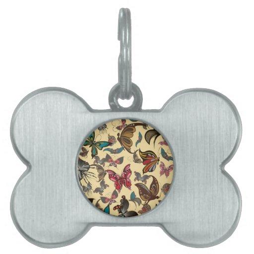 Productos múltiples de las mariposas del vintage s placa de nombre de mascota