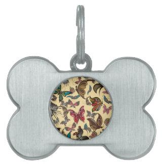 Productos múltiples de las mariposas del vintage s placas de nombre de mascota