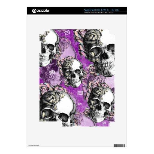 Productos púrpuras del cráneo y de los rosas iPad 3 pegatina skin