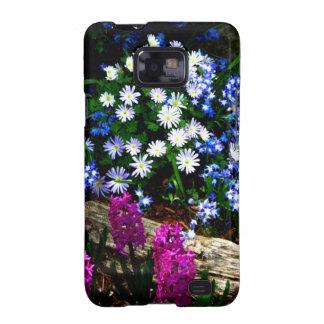 Productos púrpuras y blancos azules del diseño flo galaxy s2 carcasas