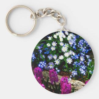 Productos púrpuras y blancos azules del diseño flo llavero redondo tipo pin