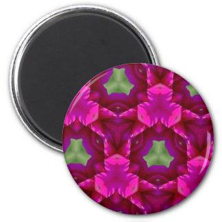 Productos púrpuras y verdes abstractos imán redondo 5 cm